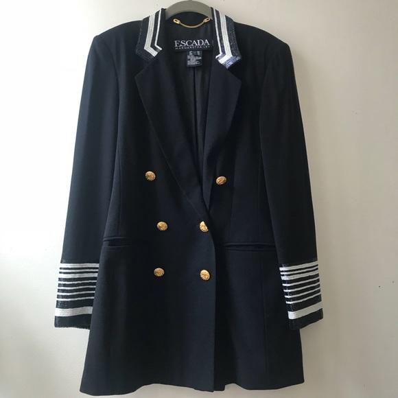 Escada • Vintage Navy Blazer Gold Buttons Sequins